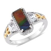 Canadian Ammolite, White Topaz 14K YG and Platinum Over Sterling Silver Ring (Size 10.0) TGW 2.65 cts.