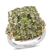 Hebei Peridot, Russian Diopside 14K YG and Platinum Over Sterling Silver Ring (Size 6.0) TGW 7.75 cts.
