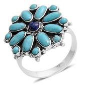 Santa Fe Style Lapis Lazuli, Kingman Turquoise Sterling Silver Ring (Size 8.0) TGW 4.70 cts.