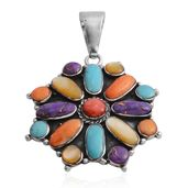 Santa Fe Style Mojave Blue Turquoise, Multi Gemstone Sterling Silver Pendant without Chain TGW 4.12 cts.