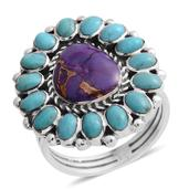 Santa Fe Style Mojave Purple Turquoise, Kingman Turquoise Sterling Silver Ring (Size 8.0) TGW 2.25 cts.