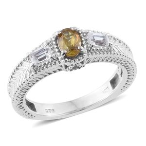 Madagascar Sphene, White Topaz Platinum Over Sterling Silver Ring (Size 6.0) TGW 1.03 cts.
