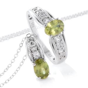 Madagascar Sphene, Cambodian Zircon Platinum Over Sterling Silver Ring (Size 7) and Pendant With Chain (20 in) TGW 2.01 cts.