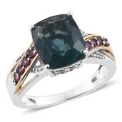 Belgian Teal Fluorite, Orissa Rhodolite Garnet 14K YG and Platinum Over Sterling Silver Ring (Size 8.0) TGW 6.85 cts.