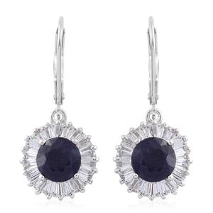 Masoala Sapphire, White Topaz Platinum Over Sterling Silver Lever Back Earrings TGW 6.80 cts.