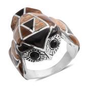 Tigers Eye, Multi Gemstone Sterling Silver Ring (Size 12) TGW 21.300 Cts. TGW 21.30 Cts.