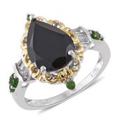 Thai Black Spinel, Russian Diopside, White Topaz 14K YG and Platinum Over Sterling Silver Ring (Size 8.0) TGW 6.18 cts.