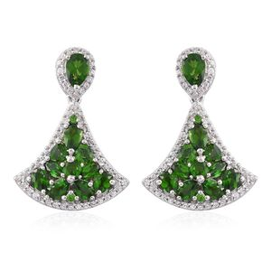 Russian Diopside, Cambodian Zircon Platinum Over Sterling Silver Earrings TGW 5.43 cts.
