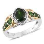 Russian Diopside 14K YG and Platinum Over Sterling Silver Ring (Size 6.0) TGW 2.22 cts.