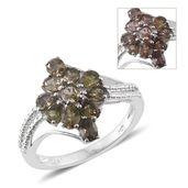 Bekily Color Change Garnet Platinum Over Sterling Silver Ring (Size 9.0) TGW 2.40 cts.