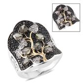 Bekily Color Change Garnet, Thai Black Spinel, Cambodian Zircon 14K YG and Platinum Over Sterling Silver Tree Concave Ring (Size 10.0) TGW 4.46 cts.