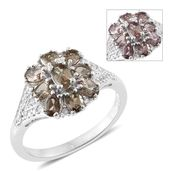 Bekily Color Change Garnet, Cambodian Zircon Platinum Over Sterling Silver Floral Ring (Size 6.0) TGW 2.37 cts.