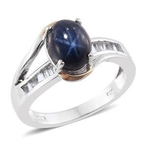 Thai Blue Star Sapphire, White Topaz 14K YG and Platinum Over Sterling Silver Ring (Size 7.0) TGW 5.40 cts.