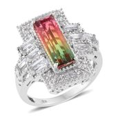 Rainbow Genesis Quartz, White Topaz Platinum Over Sterling Silver Ring (Size 7.0) TGW 9.07 cts.