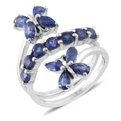 Masoala Sapphire Platinum Over Sterling Silver Butterfly Bypass Ring (Size 8.0) TGW 4.39 cts.