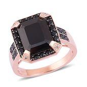 Thai Black Spinel, White Zircon Black Rhodium, 14K RG Over Sterling Silver Ring (Size 6.0) TGW 8.90 cts.
