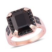Thai Black Spinel, White Zircon Black Rhodium, 14K RG Over Sterling Silver Ring (Size 8.0) TGW 8.90 cts.
