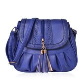 Blue Laser Cut Faux Leather Fold Over Pleated Saddle Bag with Zipper Tassel (14.5x5x9 in)
