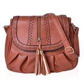 Brown Laser Cut Faux Leather Fold Over Pleated Saddle Bag with Zipper Tassel (14.5x5x9 in)