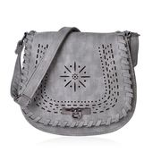Gray Faux Leather Laser Cut Flap Over Saddle Bag (8x2.5x9 in)