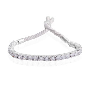 Simulated White Diamond Silvertone and Twisted Cord Bracelet (Adjustable) TGW 11.90 cts.