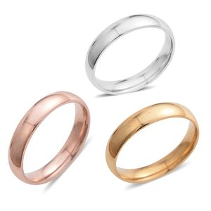 Set of 3 ION Plated YRG and Stainless Steel Band Rings (Size 13)