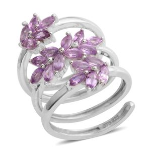 Mauve Sapphire Platinum Over Sterling Silver Swirl Ring (Size 6.5) TGW 2.25 cts.