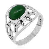 Bali Legacy Collection Burmese Green Jade Sterling Silver Pierced Solitaire Ring (Size 7.0) TGW 3.40 cts.