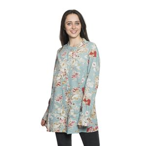 Multi Color Floral Long Sleeve Pleated Button Up Tunic with High Collar (2X)