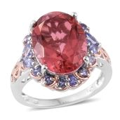 Salmon Quartz, Tanzanite 14K RG and Platinum Over Sterling Silver Ring (Size 6.0) TGW 10.58 cts.