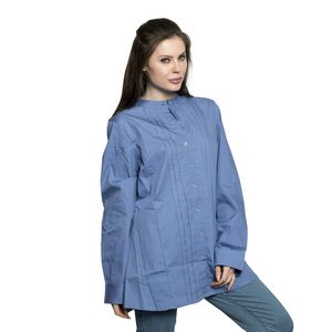 Denim Blue Long Sleeve Pleated Button Up Tunic with High Collar (2X)