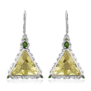 Brazilian Green Gold Quartz, Russian Diopside Platinum Over Sterling Silver Lever Back Triangle Dangle Earrings TGW 16.46 cts.