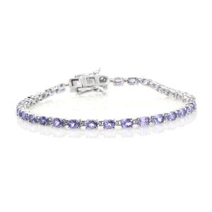 Tanzanite Platinum Over Sterling Silver Link Bracelet (7.50 In) TGW 5.00 cts.