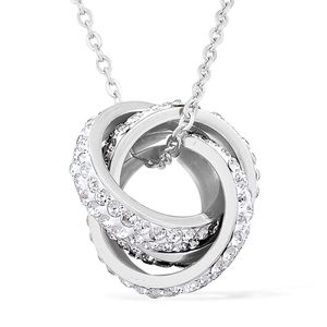 White Austrian Crystal Stainless Steel Pendant With Chain (20 in) TGW 3.50 cts.