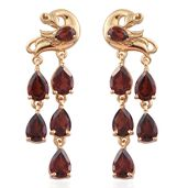 Mozambique Garnet 14K YG Over Sterling Silver Peacock Earrings TGW 8.59 cts.
