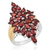 Mozambique Garnet 14K YG and Platinum Over Sterling Silver Elogated Ring (Size 9.0) TGW 7.20 cts.