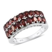 Mozambique Garnet, Cambodian Zircon Platinum Over Sterling Silver Ring (Size 6.0) TGW 4.22 cts.