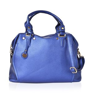 Metallic Blue Faux Leather Hobo Bag with Removable Strap (48in)and Standing Studs (14.5x5x11.5 in)