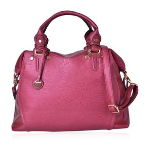 Red Faux Leather Handbag (14.5x5x11.8 in)