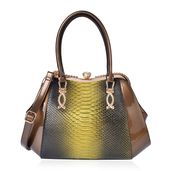 Ombre Green Snake Skin Embossed and Bronze Faux Patent Leather White Austrian Crystal Clutch Style Tote Bag with Removable Shoulder Strap (46in) and Standing Studs (16x5x11 in)