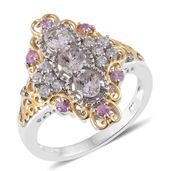 Marropino Morganite, Madagascar Pink Sapphire, Cambodian Zircon 14K YG and Platinum Over Sterling Silver Elongated Ring (Size 9.0) TGW 1.75 cts.