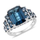Tony's Collector Show London Blue Topaz Platinum Over Sterling Silver Ring (Size 8.0) TGW 10.73 cts.