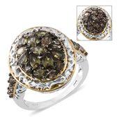 Bekily Color Change Garnet, Thai Black Spinel 14K YG and Platinum Over Sterling Silver Cluster Ring (Size 10.0) TGW 3.64 cts.