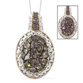 Bekily Color Change Garnet, Thai Black Spinel 14K YG and Platinum Over Sterling Silver Cluster Pendant With Chain (20 in) TGW 3.73 cts.