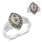 Bekily Color Change Garnet, Cambodian Zircon Platinum Over Sterling Silver Ring (Size 8.0) TGW 1.44 cts.