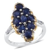 Masoala Sapphire, Cambodian Zircon 14K YG and Platinum Over Sterling Silver Ring (Size 7.0) TGW 4.58 cts.