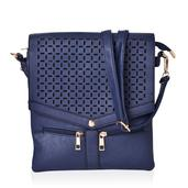 Navy Blue Laser Cut Faux Leather Flap Over Crossbody Bag with Removable Strap (11x9 in)