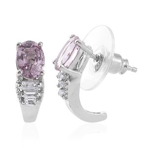 Burmese Lavender Spinel, White Topaz Platinum Over Sterling Silver Earrings TGW 2.26 cts.
