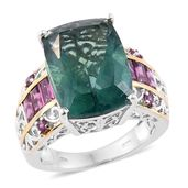 Belgian Teal Fluorite, Orissa Rhodolite Garnet 14K YG and Platinum Over Sterling Silver Ring (Size 9.0) TGW 17.35 cts.