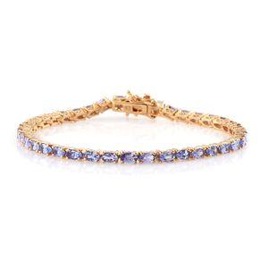 Tanzanite 14K YG Over Sterling Silver Tennis Bracelet (8.00 In) TGW 9.75 cts.